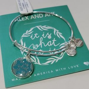 "Alex and Ani teal ""It is what it is"" bracelet"